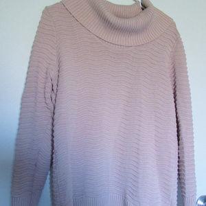 Calvin Klein Rib Knit Cowl Mauve/Pink Sweater